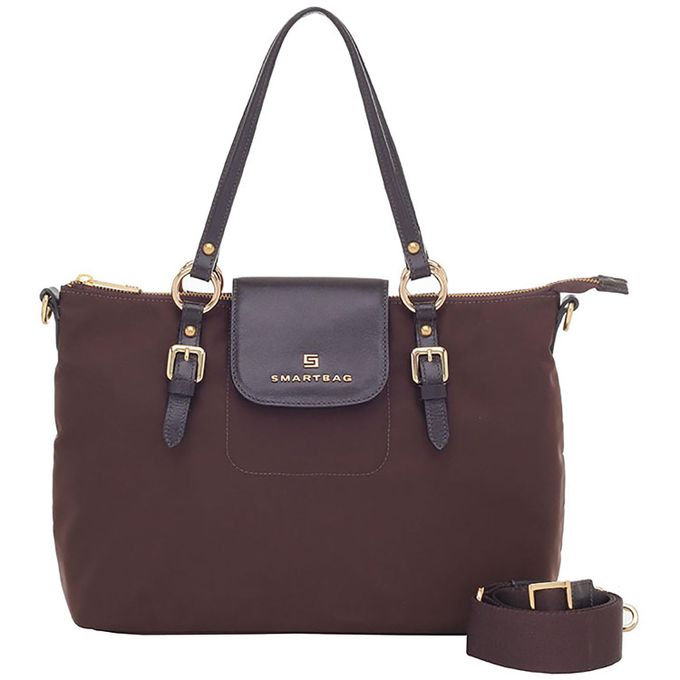 09ad619ca Bolsa Smartbag Tiracolo Nylon Chocolate/Couro Café - 88031.17