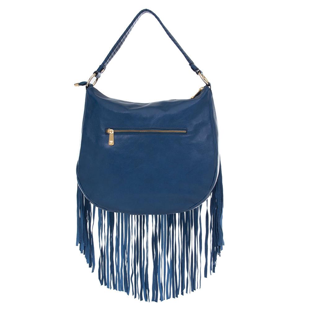 94142dd75 Bolsa de Couro Azul Real com Franjas e Spikes Dourados Smartbag ...