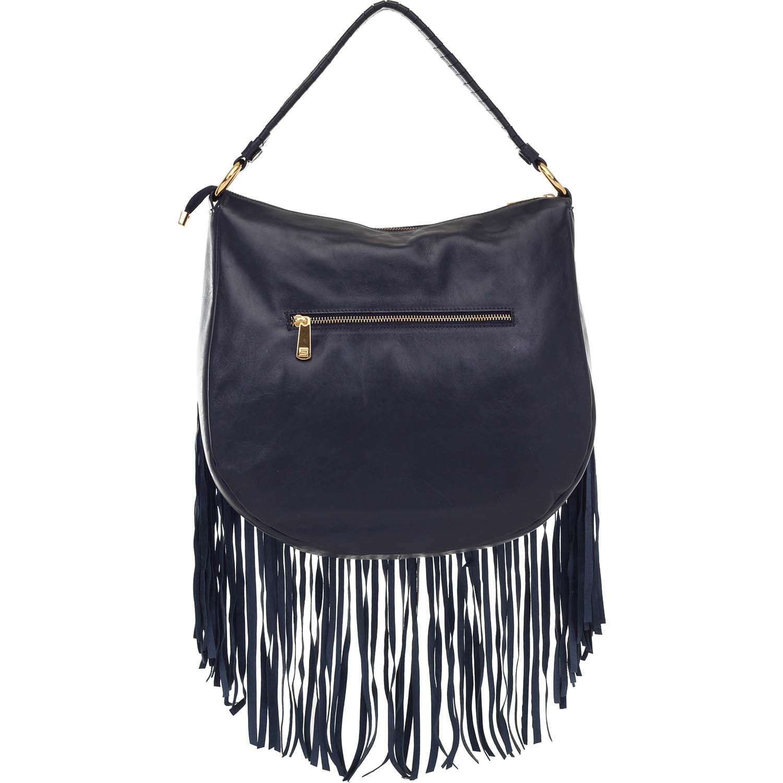 183db0698 Bolsa de Couro Dark Blue com Franjas e Spikes Dourados Smartbag ...