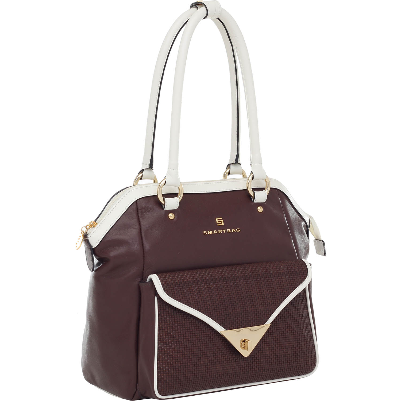 33320b0e2 Bolsa Couro Tiracolo Tresse Bicolor Chocolate/Off White Smartbag ...