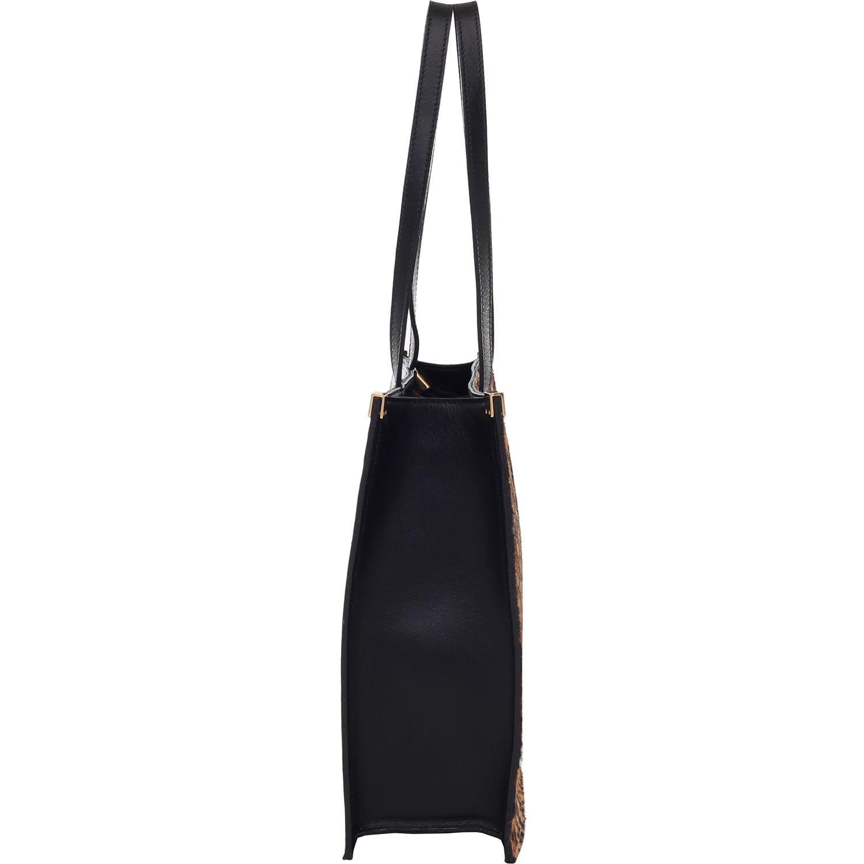 8a5a79e3d Bolsa Smartbag Couro Tiracolo Estilo Pasta Preto Onça- 78090 - Smartbag