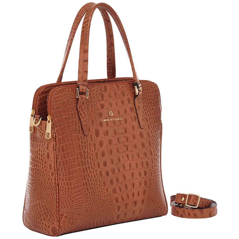 6bc9a9673 Bolsa de Couro Croco Whisky - Smartbag