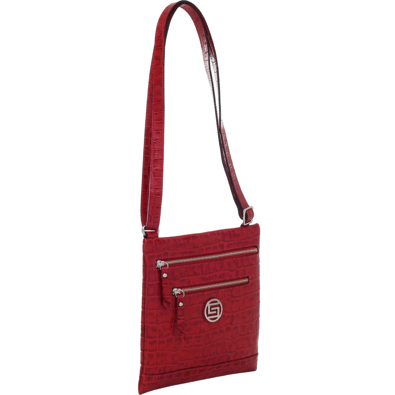 6db8e55ea Bolsa de Couro Transversal Croco Vermelho - Smartbag