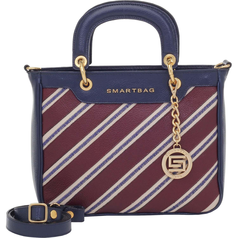 8ff3f2b94 Bolsa Smartbag Couro Alça de Mão Listras Marinho/Bordô - 72184.17.  Previous. Loading zoom · Loading zoom