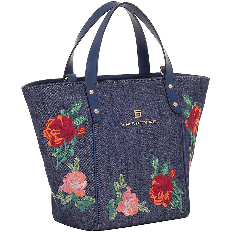 a2dad110f Bolsa Alça de Mão Floral Jeans Couro Navy - Smartbag