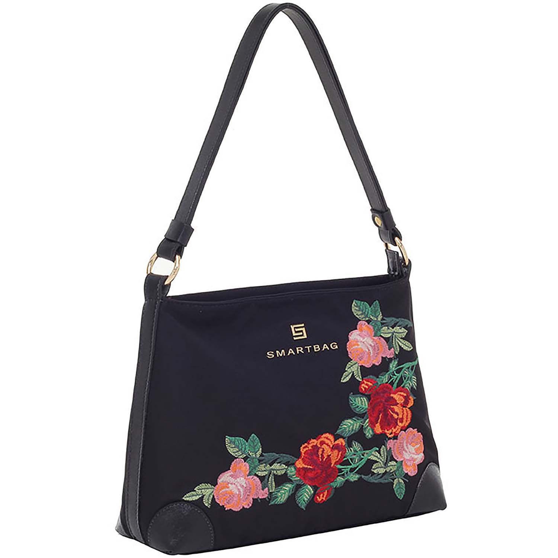 49a5627de Bolsa Tiracolo Floral Nylon Couro Preto - Smartbag