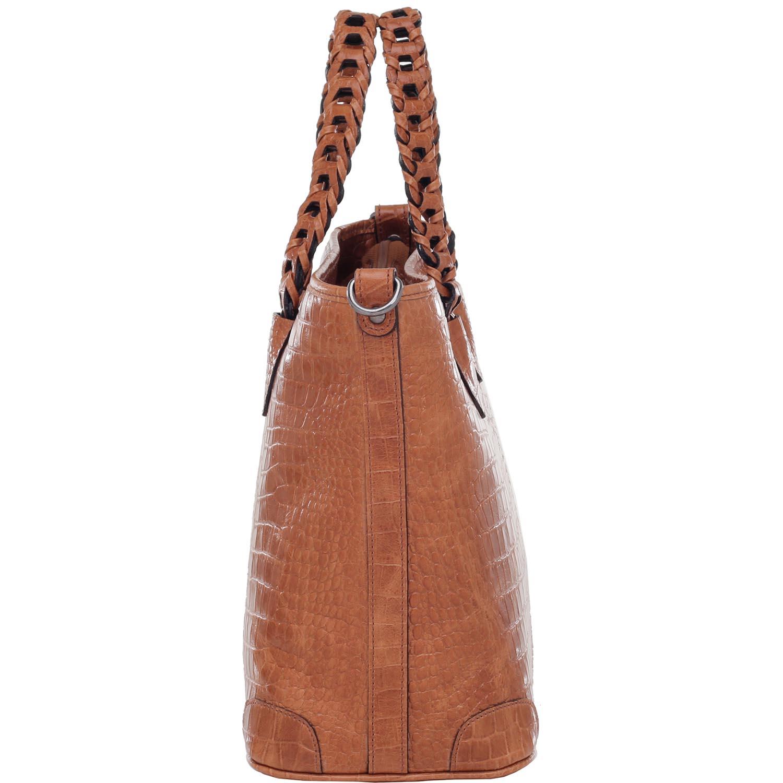 e4b533e44 Bolsa Alça de Mão Couro Croco Whisky - 74065.18 - Smartbag